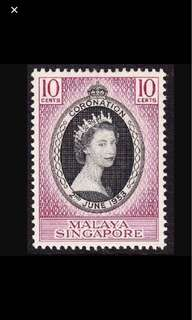 Singapore Queen Eliz 1953 Coronation unmounted mint 1v