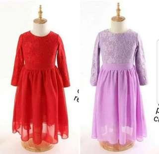 Sara lace chiffon dress jubah kid muslim