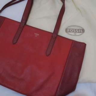 FOSSIL SYDNEY SHOPPER RED CLARET LEATHER BAG BRAND NEW AUTHENTIC
