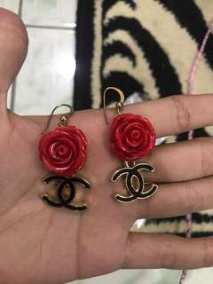 "REPRICED!! ""Chanel"" inspired rose earrings"