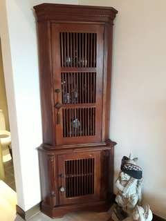 PRICE REDUCED - Balinese teak corner cabinet (w/glasses)