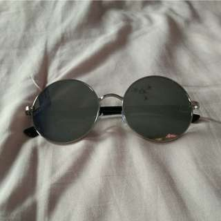 Silver Frame Circle Round Sunglasses