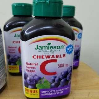 全新Jamieson Chewable C 500mg 120粒/樽 (2樽 $160)