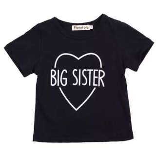 Instock - big sister shirt, baby infant toddler girl children cute glad chubby 123456789 lalalala