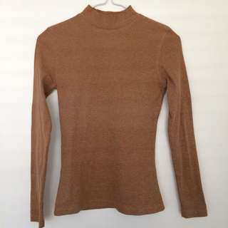 fitted ribbed brown long sleeve top
