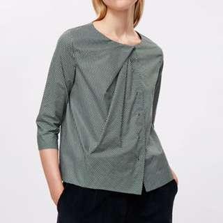 COS Green Draped Neck Printed Shirt - EU 32