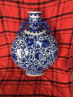Qing Chien Long Mark B n W flat vase with linked lotus flowers 35cm high