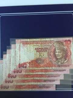 Malaysia RM10 (5pcs) , Circulated