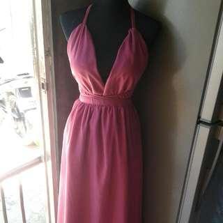 OLD ROSE HALTER DRESS