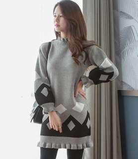 韓國 圖案設計荷葉邊針織裙 連身裙