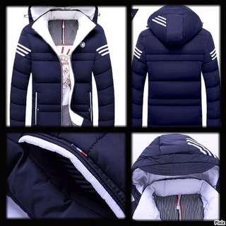 Men's Fashion, Designer Winter Wear, Holiday Wear, Warm Jacket, Hoodie, Smart Casual Wear, 3 Stripes like ADIDAS, Slim Fit, Asian Style