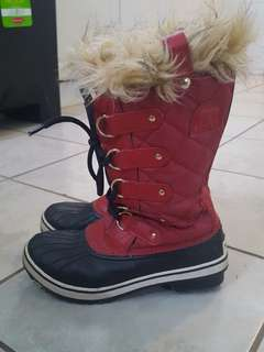 Red Sorel waterproof boots