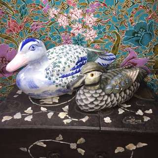 Porcelain & Wooden Mandarin Ducks