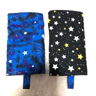 Reversible Drool Pads shooting stars with classic black stars baby carrier tula boba lillebaby