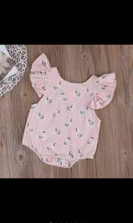 Baby Girl Pink Puff Sleeves Swan Ruffle Romper Infant Newborn Kids Children Pretty Cute [PO]