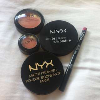 Nyx Makeup Bundle - Blush, Lip Liner, Lip Tint etc.