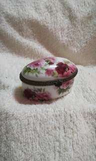 Vintage Ceramic Oval Shape with Roses Chest Box