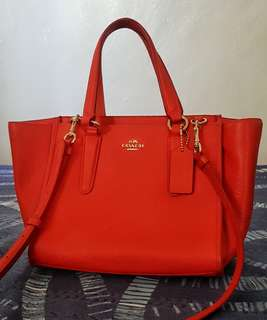 Crosby Mini Carryall F33848 11925 Bright Orange Saffiano Leather Satchel