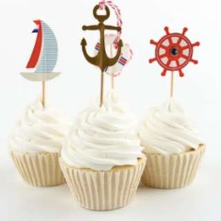 Nautical Theme Cupcake Picks Cupcake Toppers Food Fruit Picks for Decoration