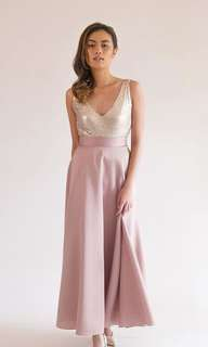 Long champagne rose gold maxi skirt