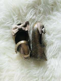 Mini mel gold babydoll shoes