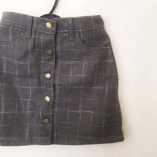 🚚 SALES - A line skirt grid square button (grey) #Caroupay