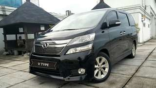 Toyota Vellfire V 2.4 AT 2012 PS hitam metalik