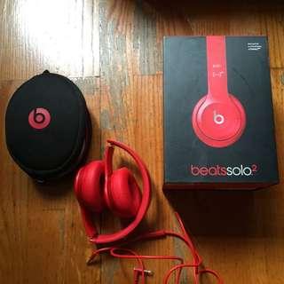 Beats solo 2 紅色/亮紅色 Headphone