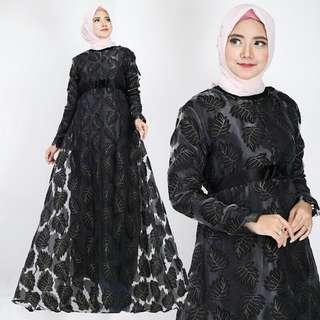 Busana Muslim Wanita Organdi Daun 4 Black Coco Dusty Grey