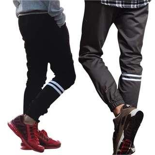 mejikuu jogger strip panjang anak remaja celana jogger pants anak 14-15 tahun , hitam