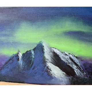 Night Sky Mountains Oil Painting