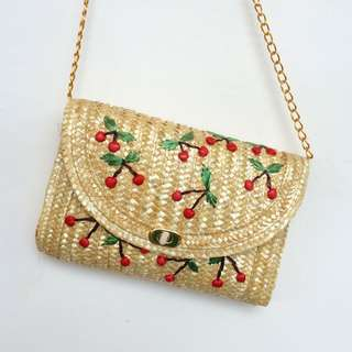 Straw Cherry Beach Bag