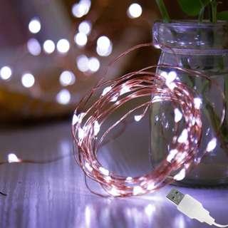 Copper Wire Fairy Lights – Cold White (USB operated)