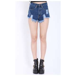 Ripped Denim Shorts (Dark) in Size Medium