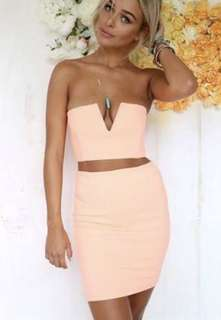 Sabo Skirt peach V set