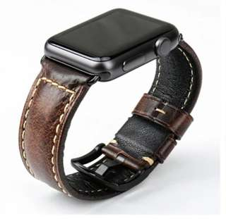 Strap Watch Apple iWatch Geneuine Leather Vintage Dark Brown 42mm