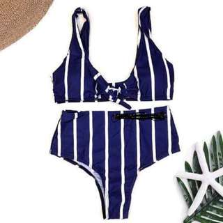 Navy Blue and White Stripes Highwaisted Two Piece