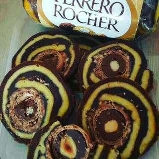 Roll Cake Ferrero Rocher