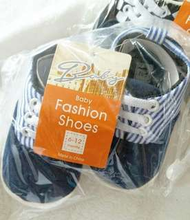 嬰兒深藍間條款休閒帆布鞋 學步鞋 軟底bb鞋