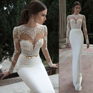 Gown Collection - Europe Design Long Embroidered Lace Sleeves Backless Mermaid Gown