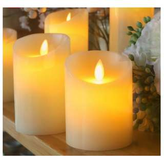 LED Jumbo Candles, Battery Operated Smoke Free Dancing Flame, Set of 3 pcs