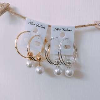 圈圈珍珠百搭三用耳環(金銀兩色任選)
