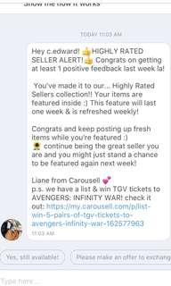 Highly rated seller award from Carousell