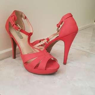 Bright Coral heels