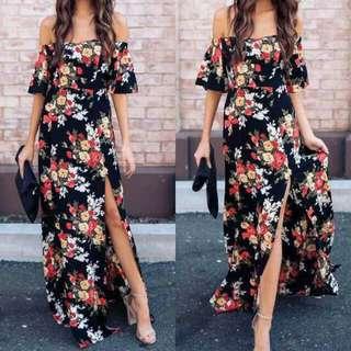 Black floral Maxi Dress FREE SHIPPING