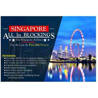 SINGAPORE ALL - IN BLOCKINGS VIA SINGAPORE AIRLINES