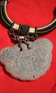 白玉佩搭配純手工藝品編織項鍊《祈福求平安》