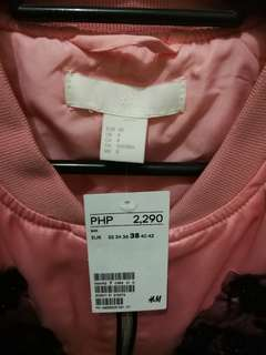 [New & Repriced] H&M Light Pink Bomber Jacket