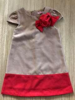 Khakis Colour with Bow Girl's Dress