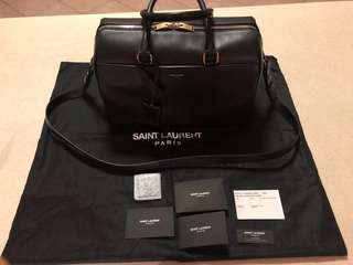 Saint Laurent Classic Duffle 6 Bag Black Calfskin Gold Hardware